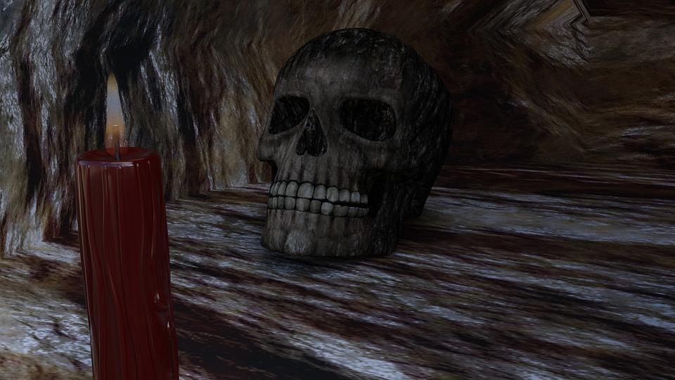 skull in cave